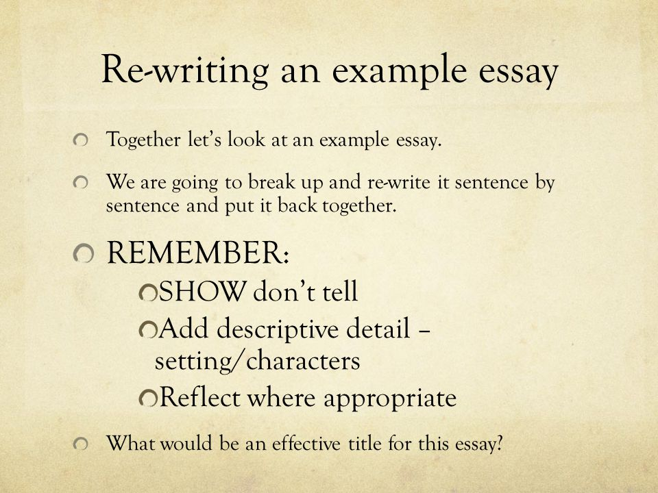 Re-writing an example essay