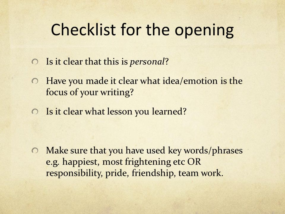 Checklist for the opening