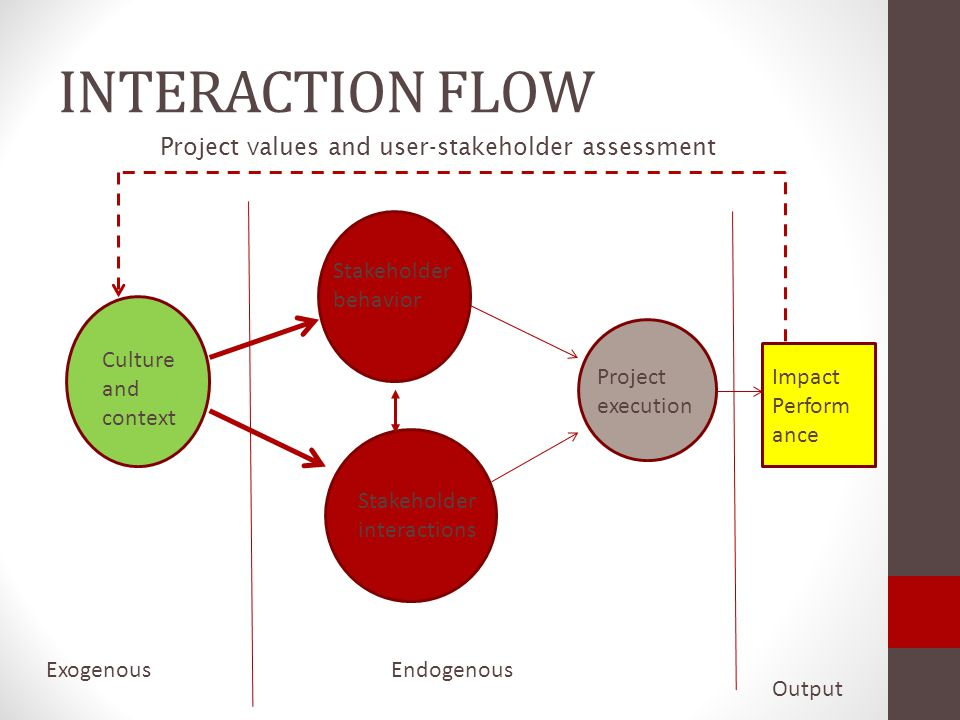 INTERACTION FLOW Project values and user-stakeholder assessment
