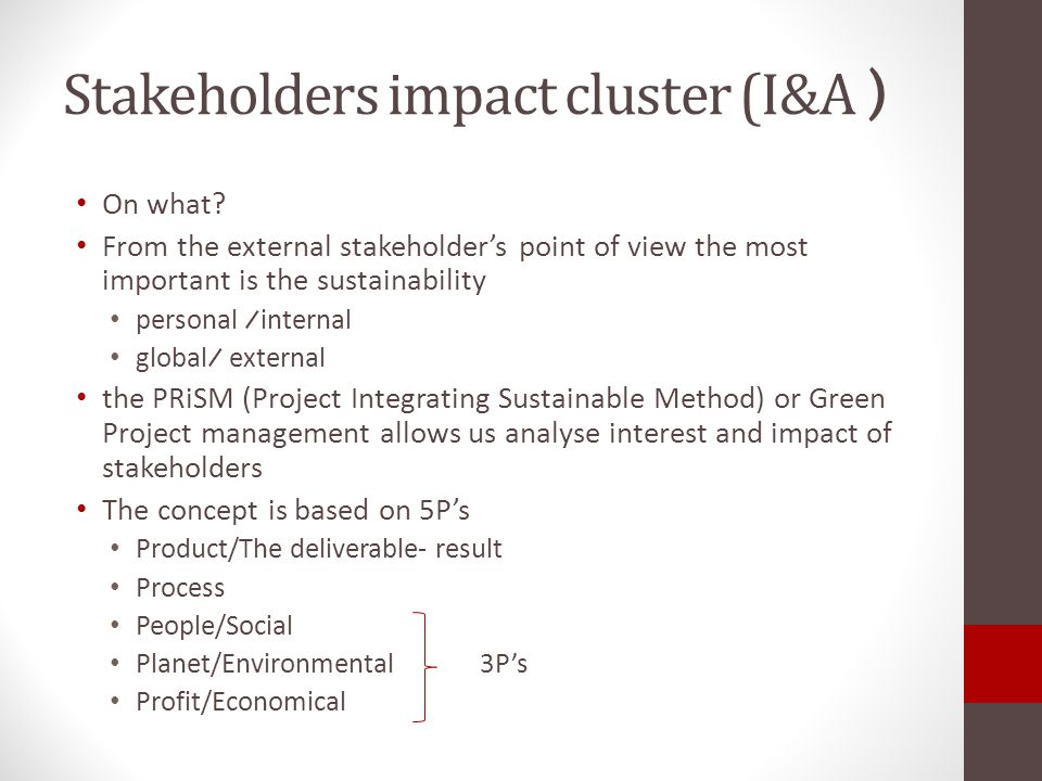 Stakeholders impact cluster (I&A )