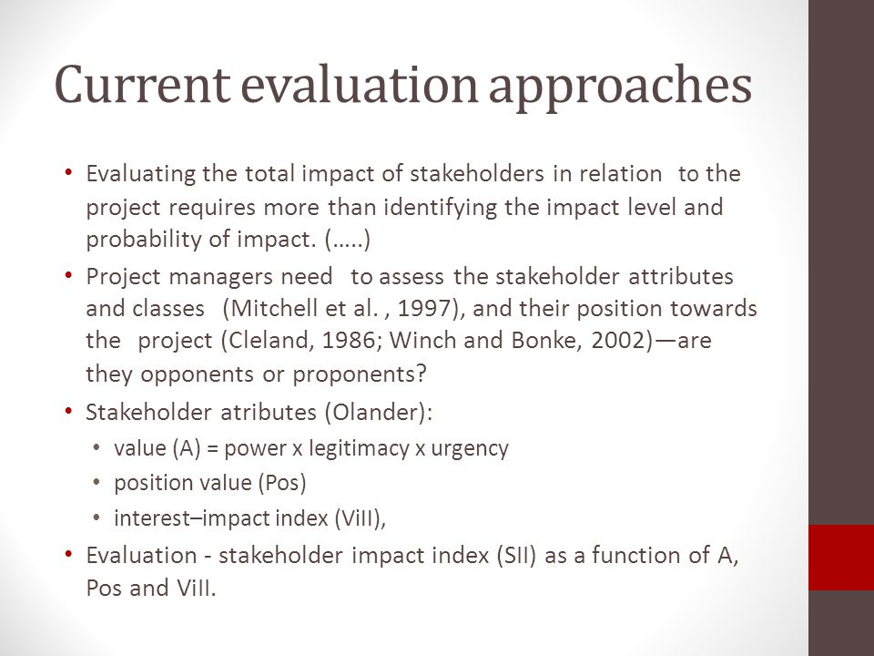 Current evaluation approaches
