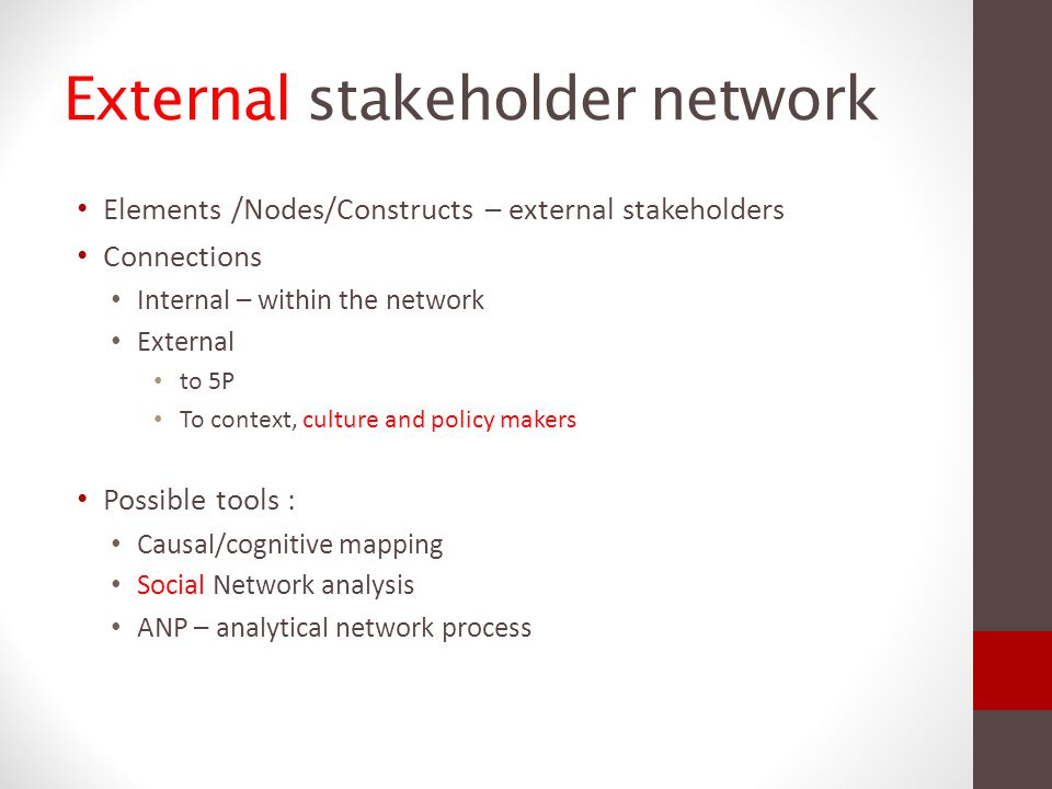 External stakeholder network