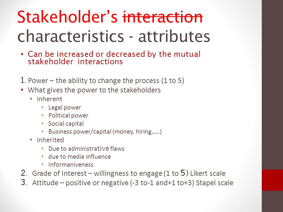 Stakeholder's interaction characteristics - attributes