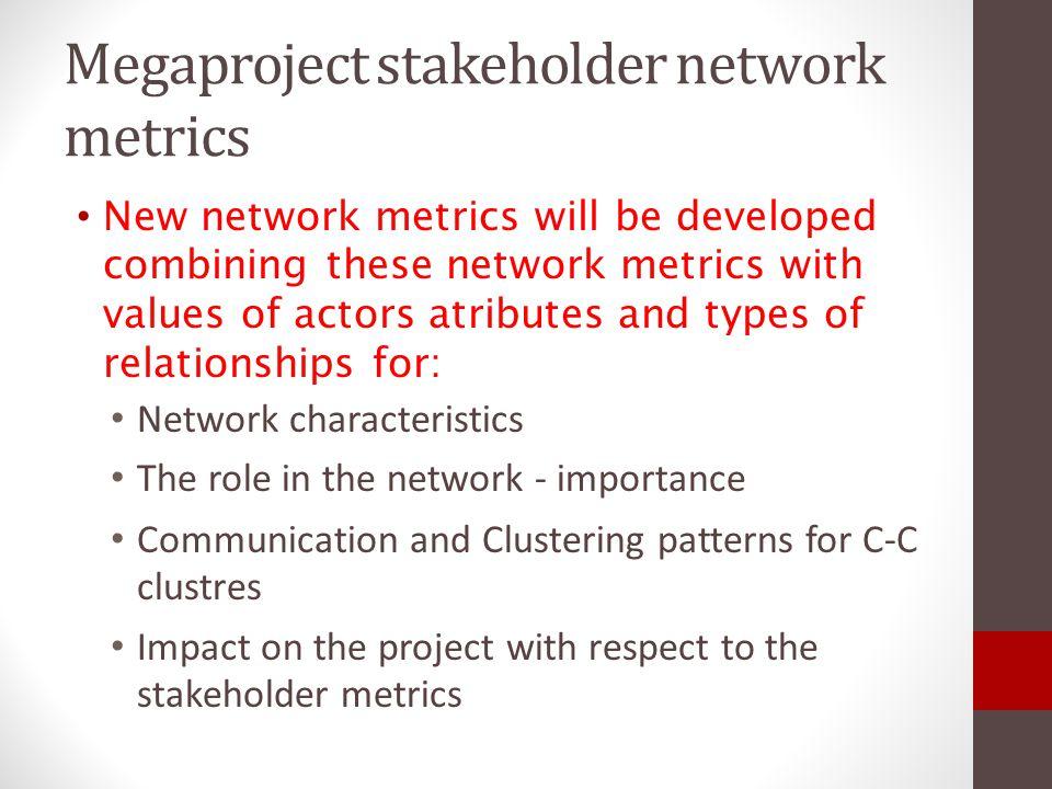Megaproject stakeholder network metrics