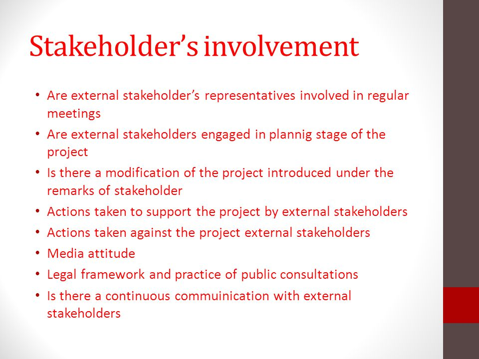 Stakeholder's involvement
