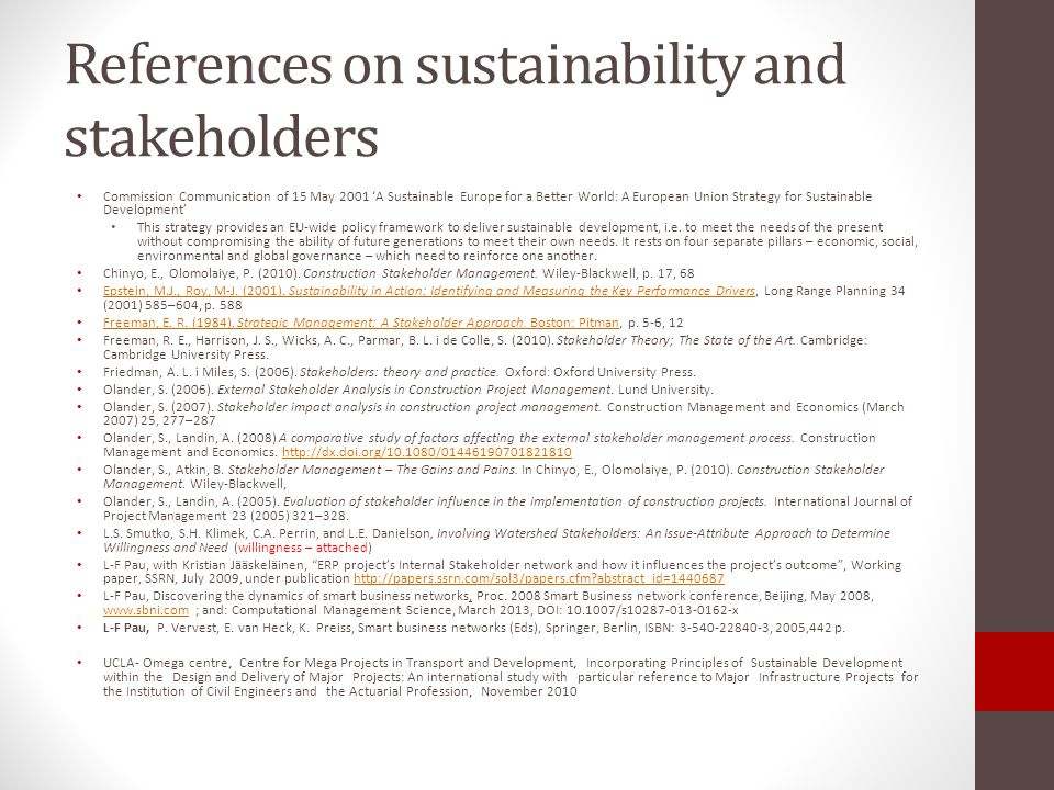 References on sustainability and stakeholders