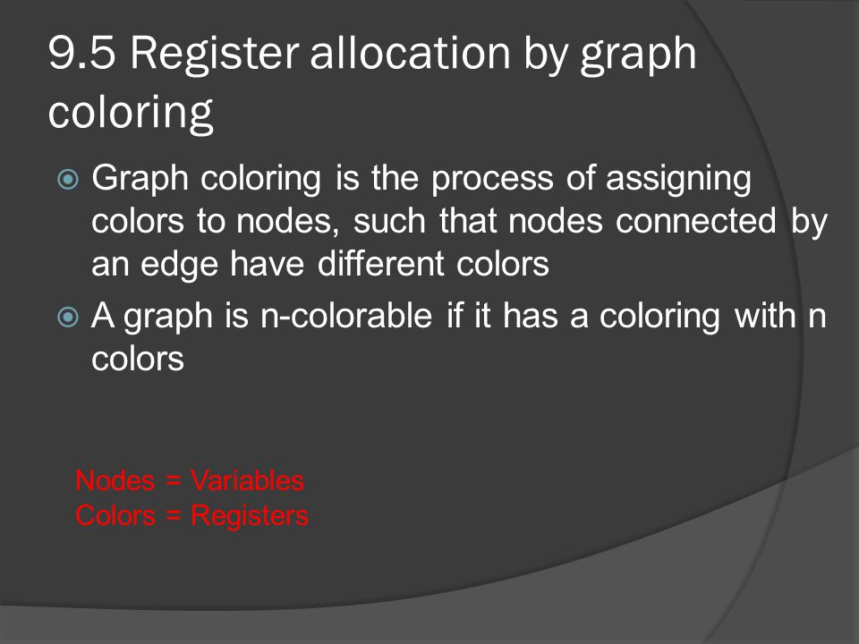 9.5 Register allocation by graph coloring