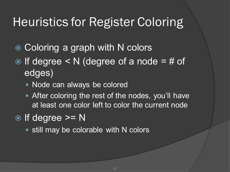 Heuristics for Register Coloring
