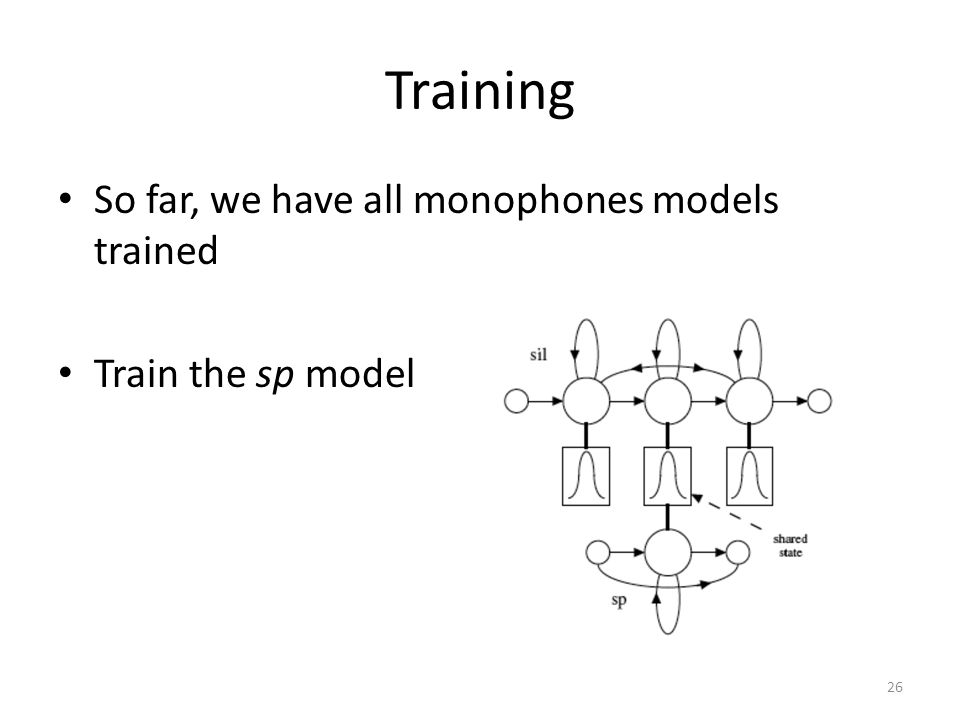 Training So far, we have all monophones models trained