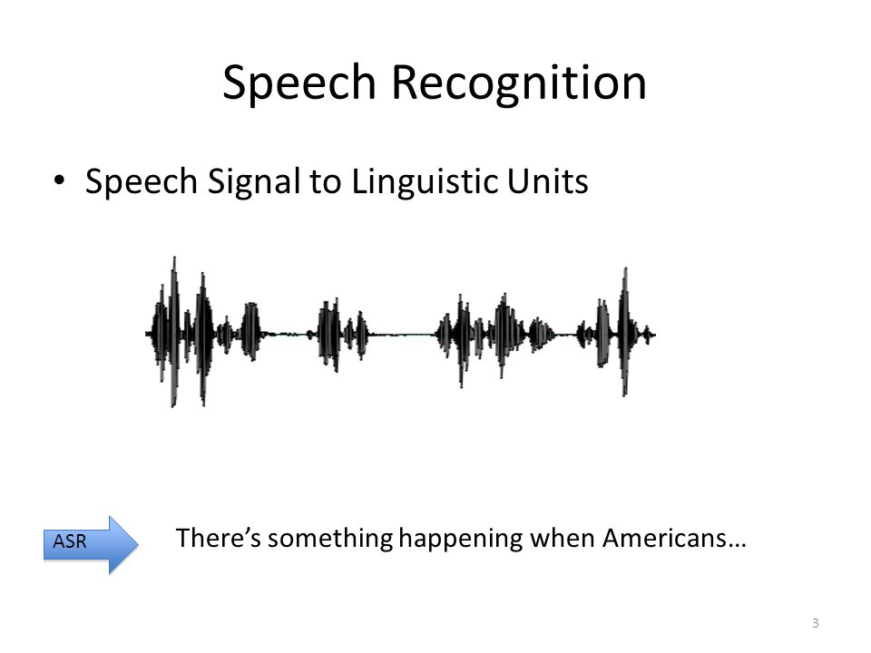 Speech Recognition Speech Signal to Linguistic Units