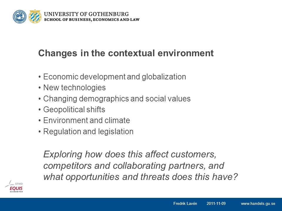 Changes in the contextual environment