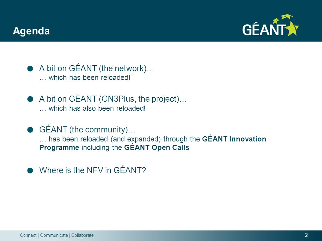 Agenda A bit on GÉANT (the network)… … which has been reloaded!