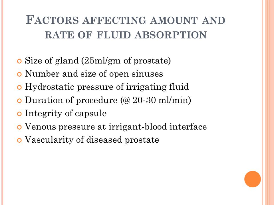 Factors affecting amount and rate of fluid absorption