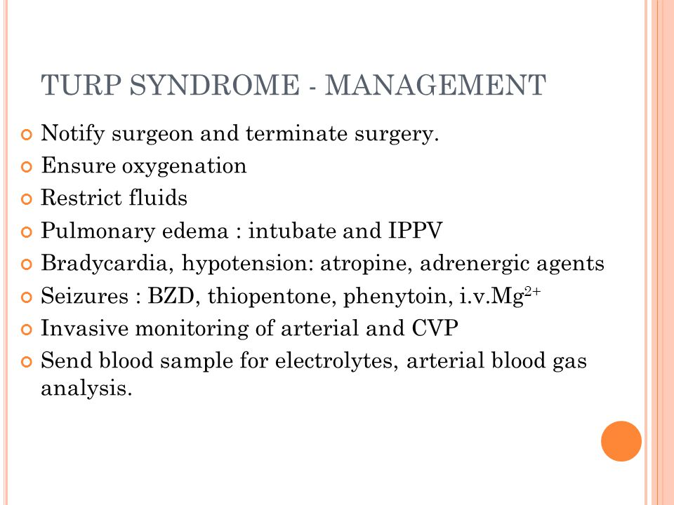 TURP SYNDROME - MANAGEMENT