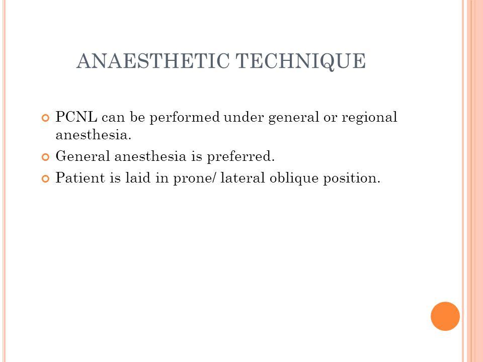 ANAESTHETIC TECHNIQUE