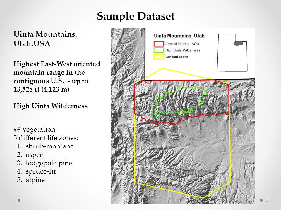 Sample Dataset Uinta Mountains, Utah,USA