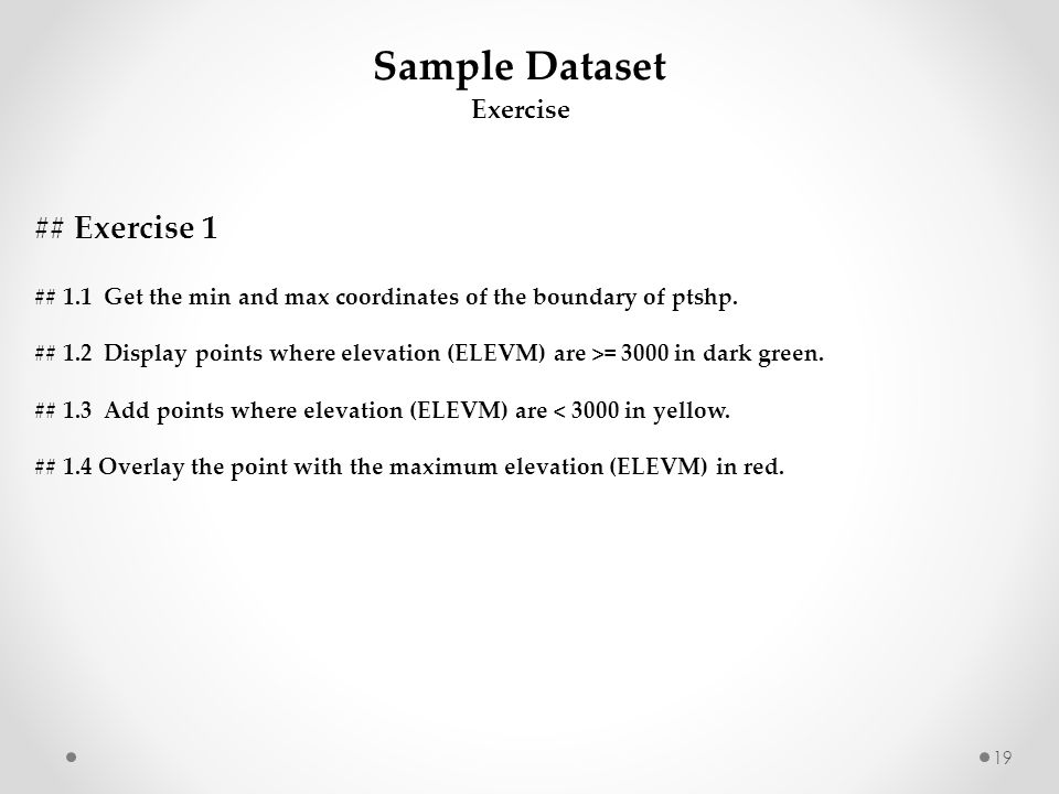 Sample Dataset ## Exercise 1 Exercise