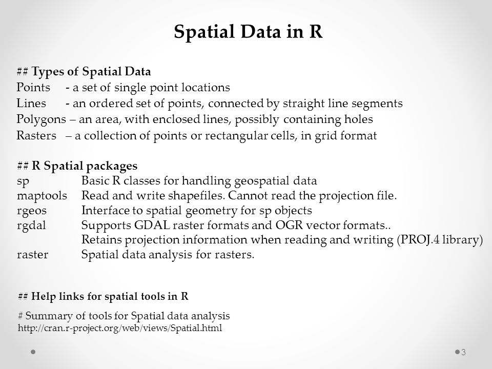 Spatial Data in R ## Types of Spatial Data