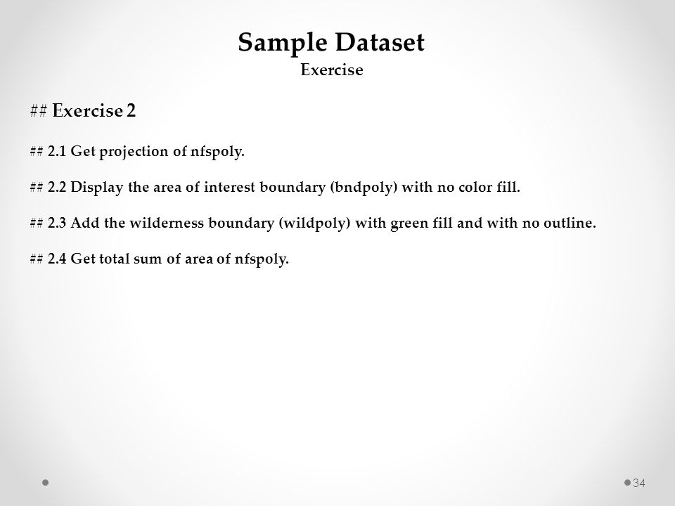 Sample Dataset ## Exercise 2 Exercise