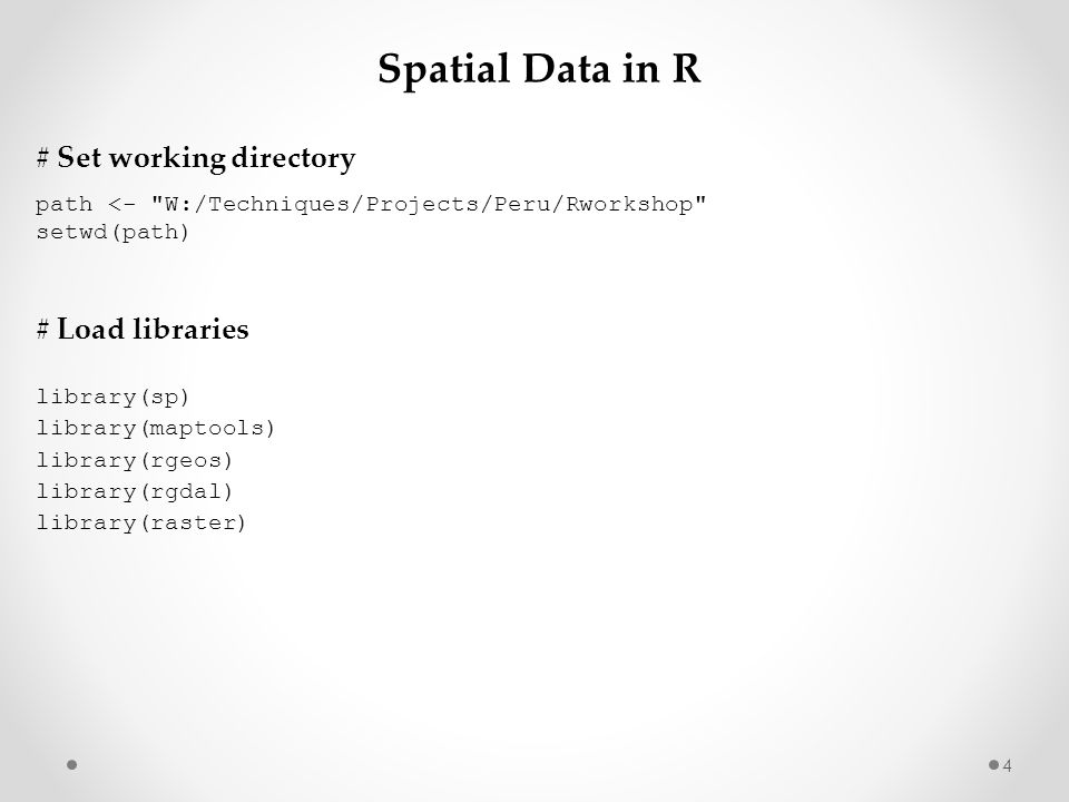 Spatial Data in R # Set working directory # Load libraries