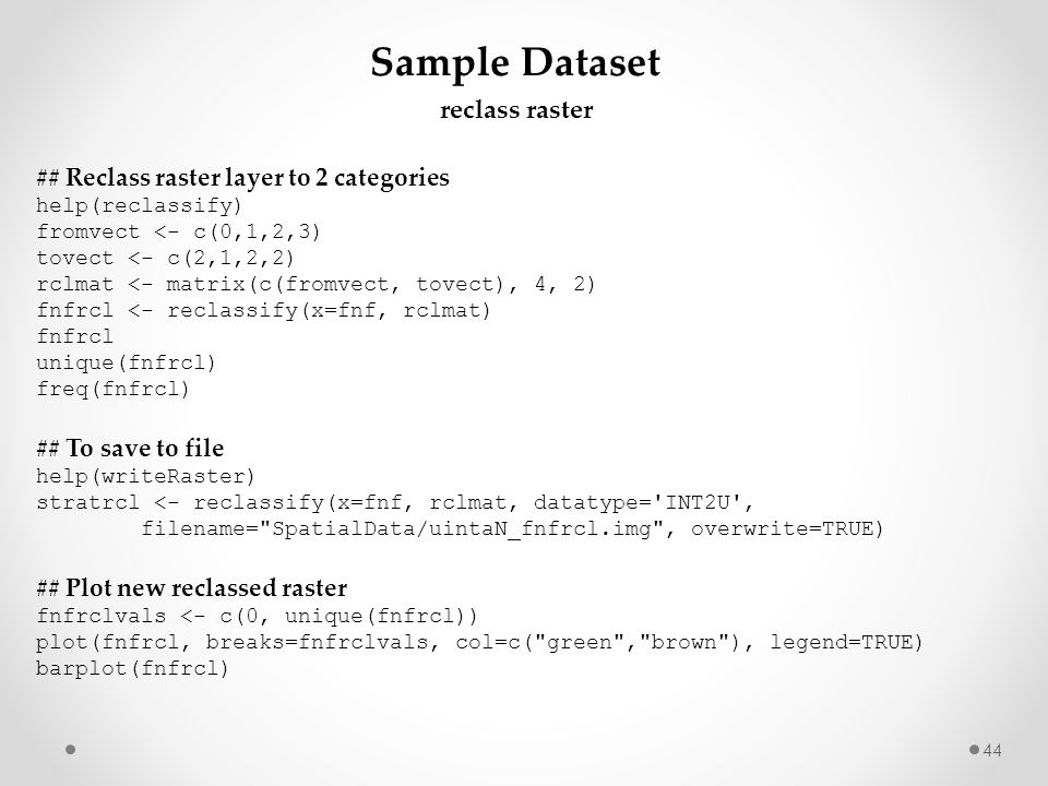 Sample Dataset reclass raster ## Reclass raster layer to 2 categories