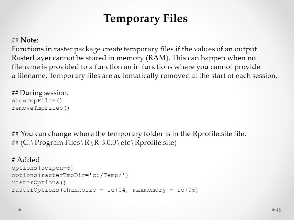 Temporary Files ## Note: