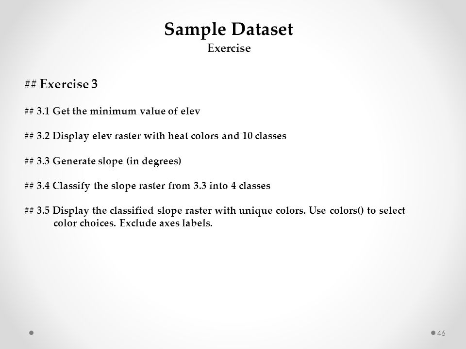 Sample Dataset ## Exercise 3 Exercise