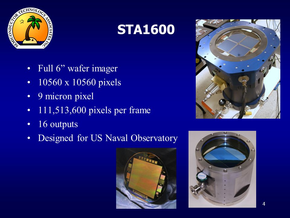 STA1600 Full 6 wafer imager 10560 x 10560 pixels 9 micron pixel