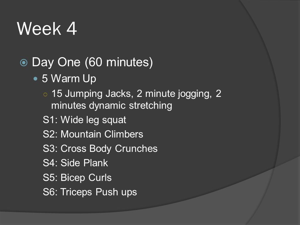 Week 4 Day One (60 minutes) 5 Warm Up