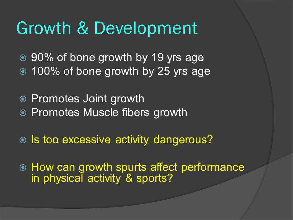 Growth & Development 90% of bone growth by 19 yrs age