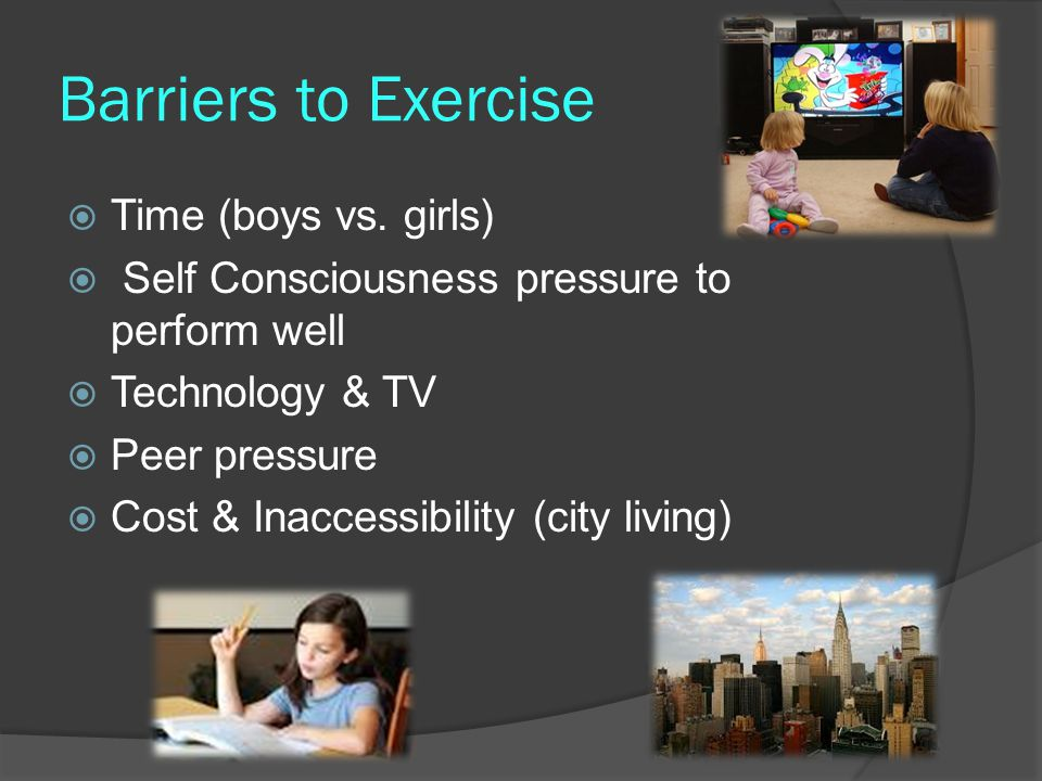Barriers to Exercise Time (boys vs. girls)