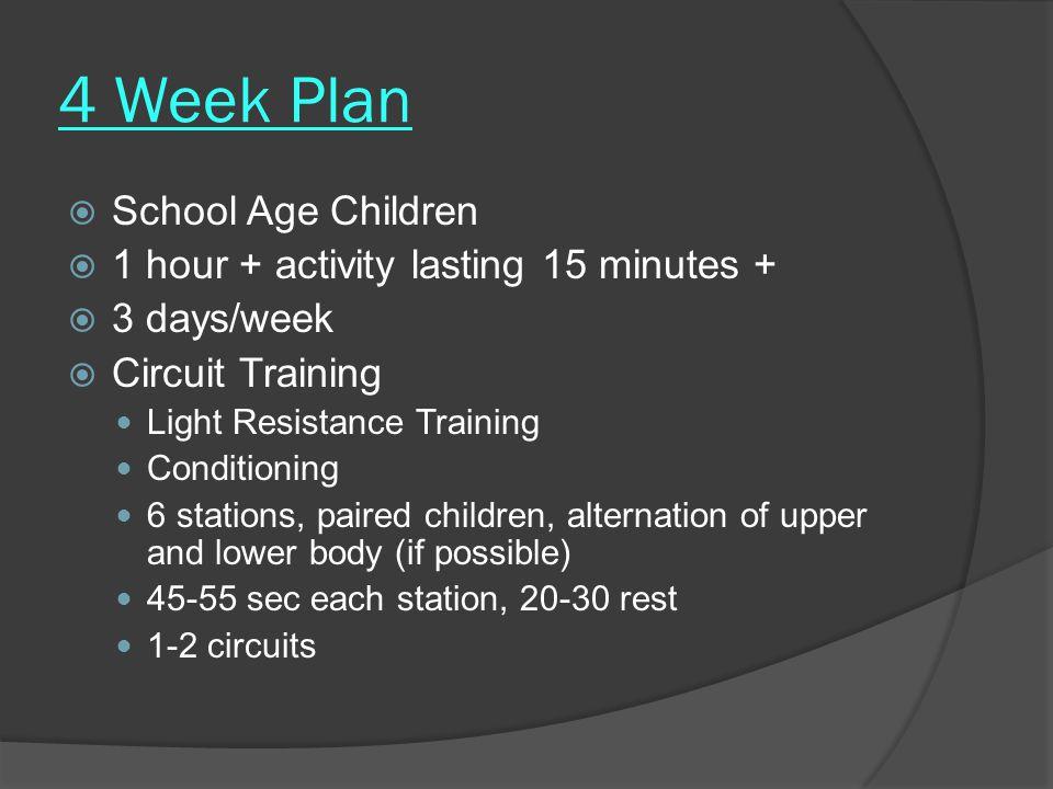 4 Week Plan School Age Children 1 hour + activity lasting 15 minutes +