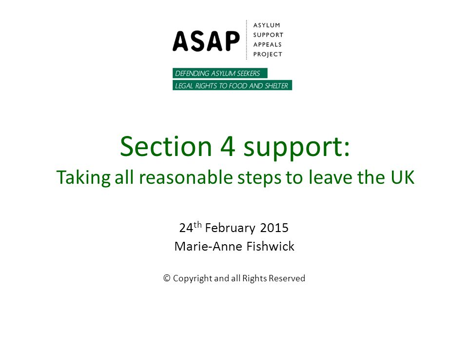 Section 4 support: Taking all reasonable steps to leave the UK