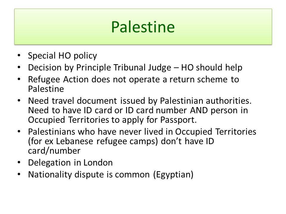 Palestine Special HO policy