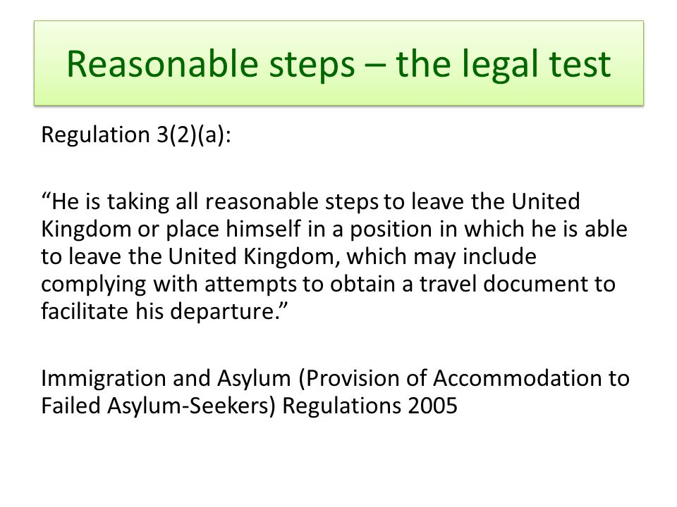 Reasonable steps – the legal test