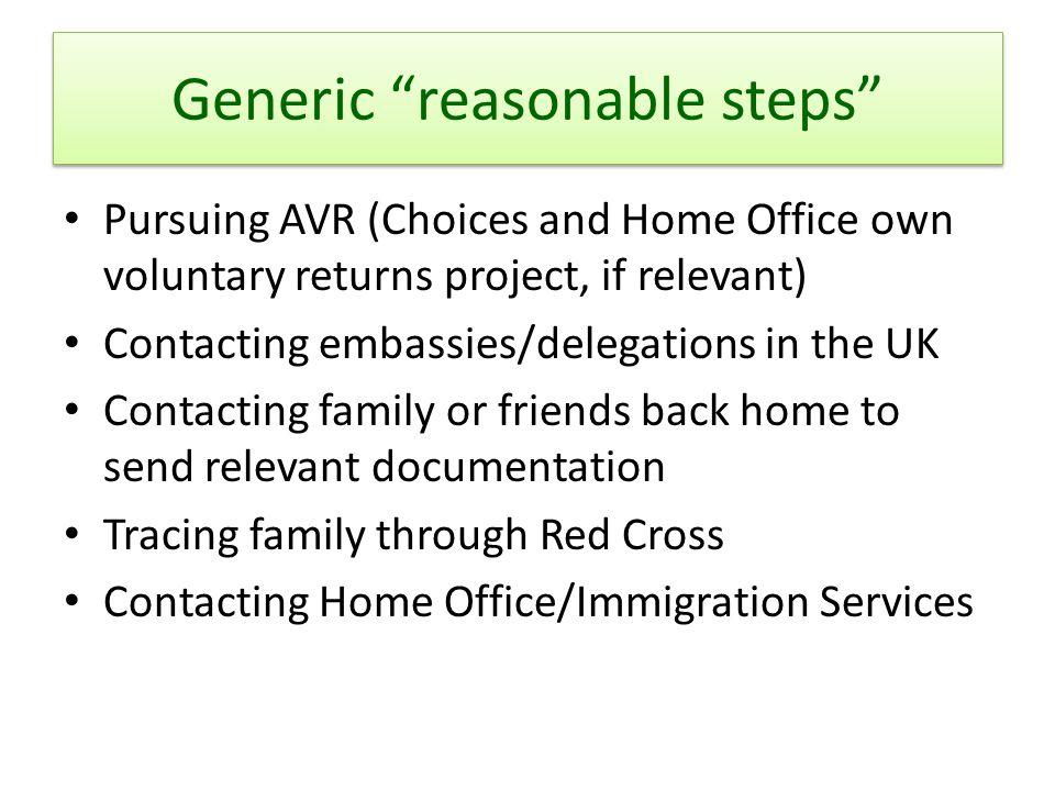 Generic reasonable steps