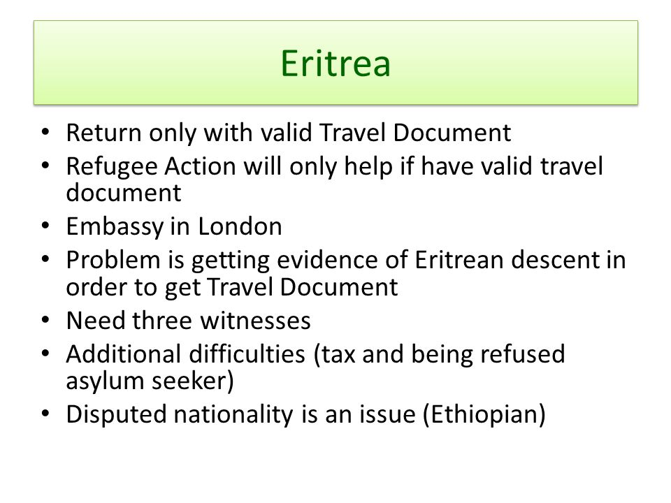 Eritrea Return only with valid Travel Document