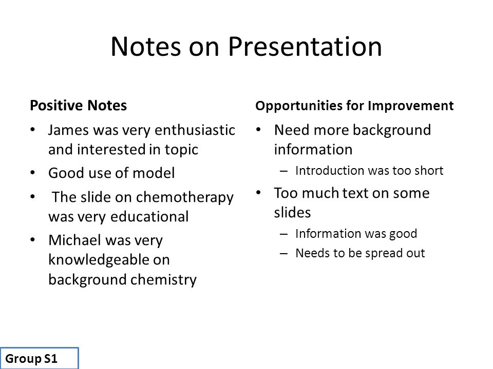 Notes on Presentation Positive Notes