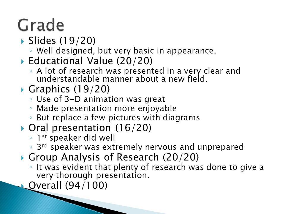 Grade Slides (19/20) Educational Value (20/20) Graphics (19/20)