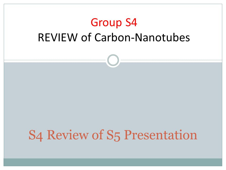 S4 Review of S5 Presentation