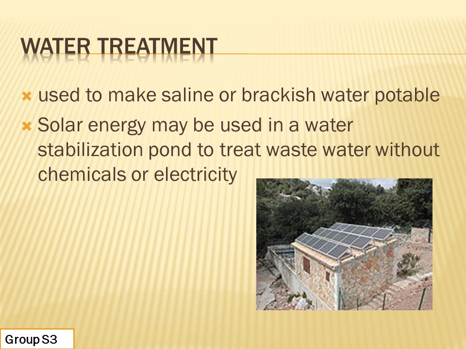 WATER TREATMENT used to make saline or brackish water potable