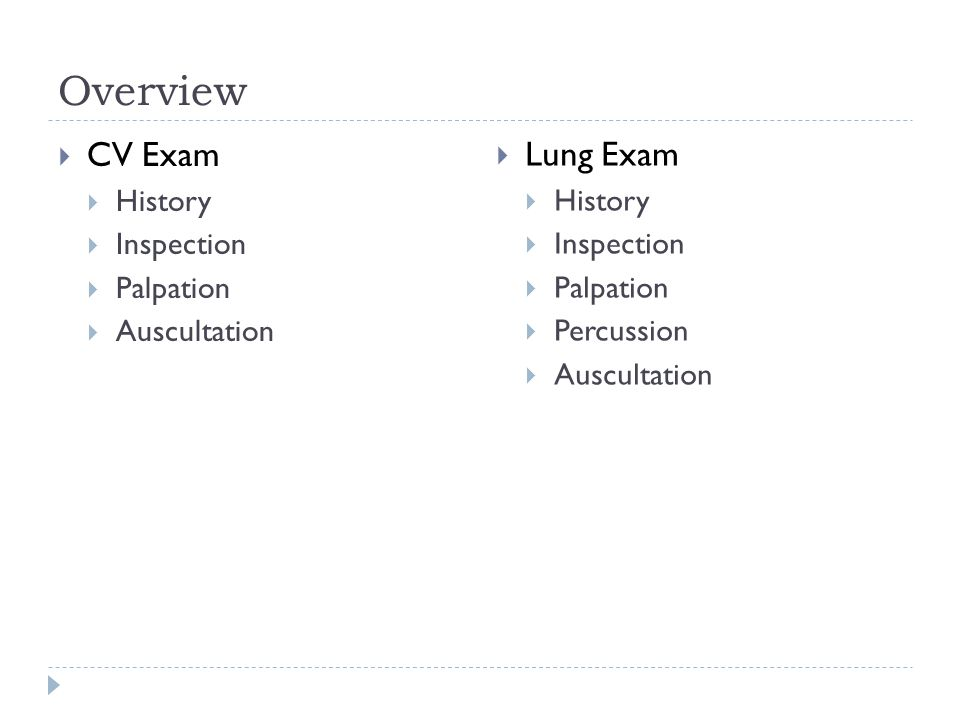Overview CV Exam Lung Exam History Inspection Palpation Auscultation