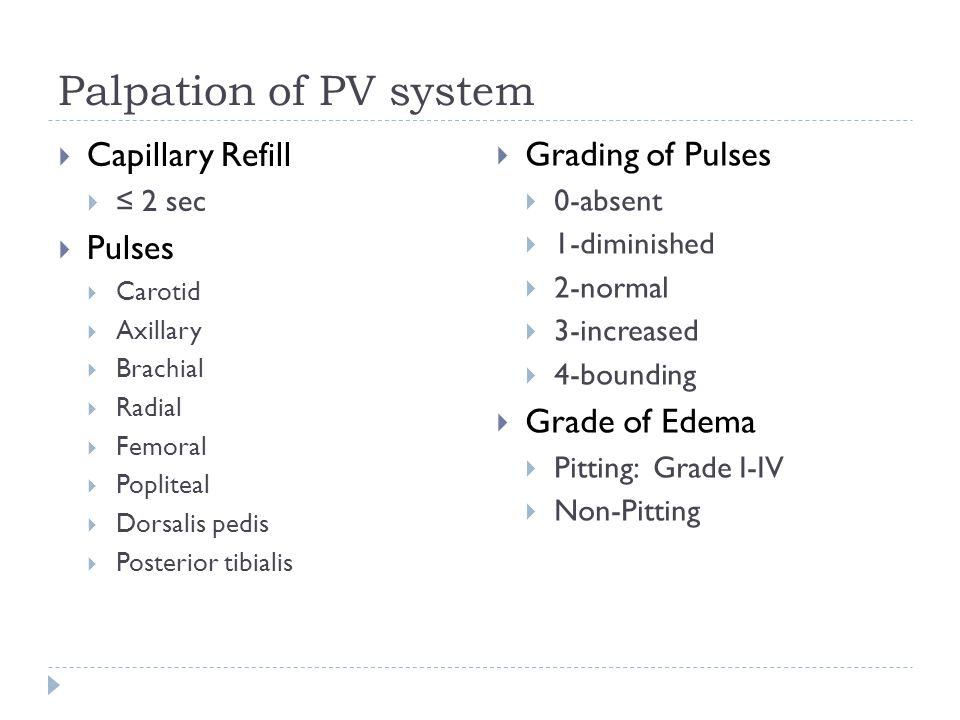 Palpation of PV system Capillary Refill Grading of Pulses Pulses