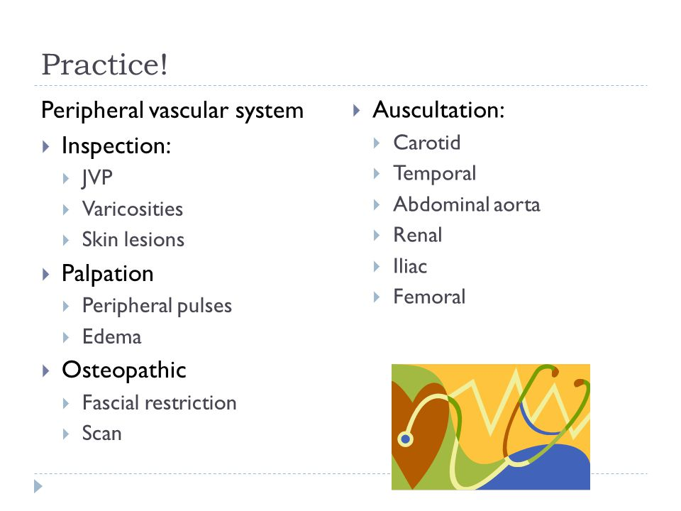 Practice! Peripheral vascular system Auscultation: Inspection: