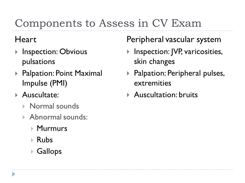 Components to Assess in CV Exam