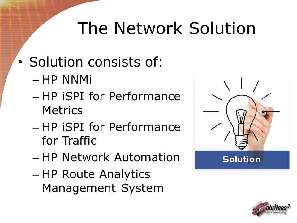 The Network Solution Solution consists of: HP NNMi