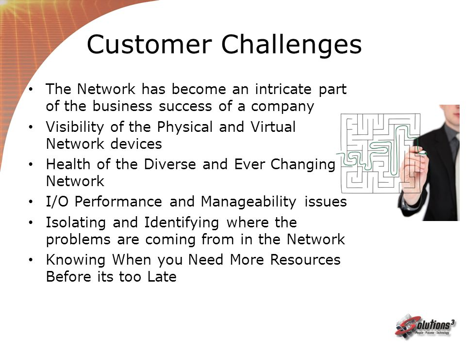 Customer Challenges The Network has become an intricate part of the business success of a company.