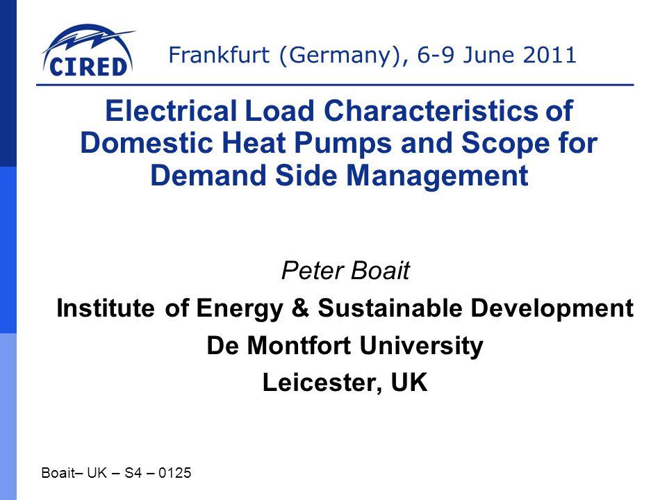 Institute of Energy & Sustainable Development De Montfort University