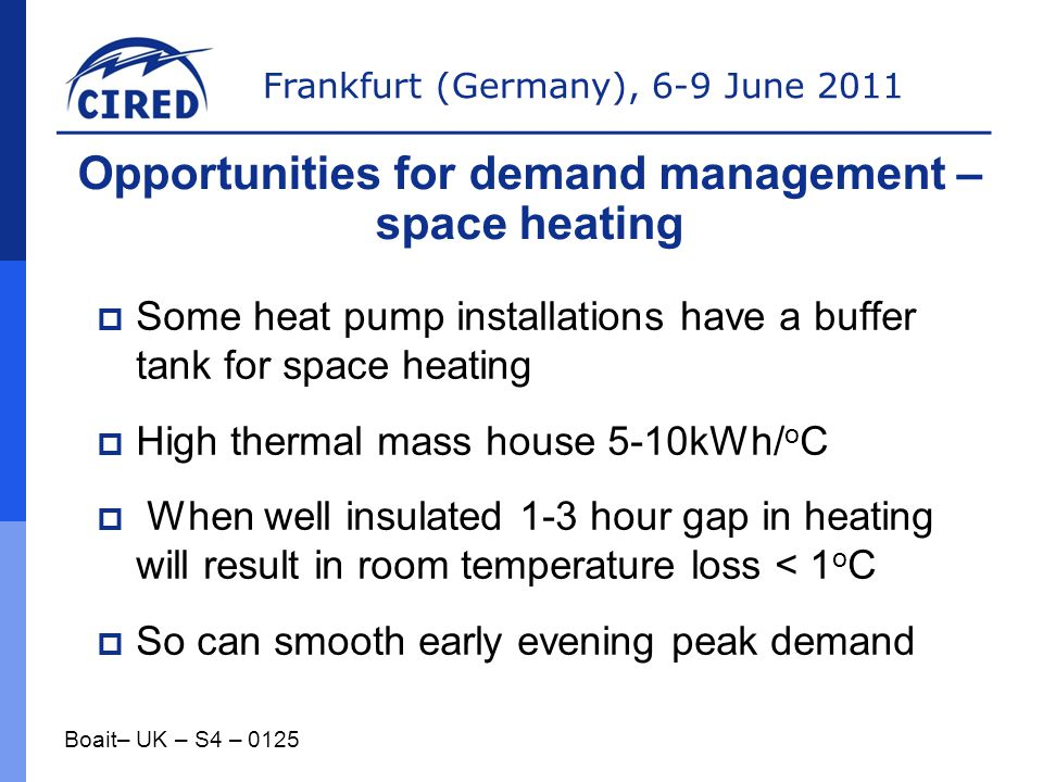 Opportunities for demand management – space heating