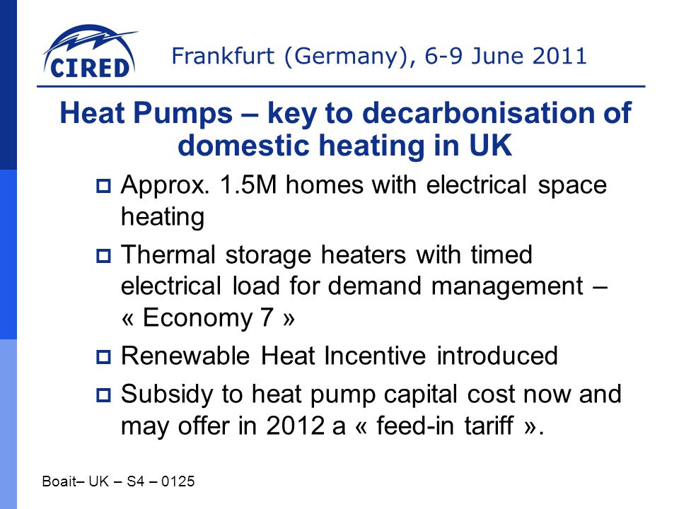 Heat Pumps – key to decarbonisation of domestic heating in UK